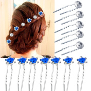 Vanyda 40 Pack Wedding Bridal Pearl Flower Rose Crystal Hair Pins Clips, White + Blue