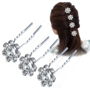 Vanyda 20 Pack Wedding Bridal Pearl Flower Crystal Hair Pins Clips White 68x14mm