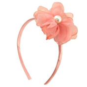 23 – 702 – Headband Satin 1 cm With Flower Tulle and Pearls 7 cm – Cerchietti for Hair Headbands Girl Girl Old Pink