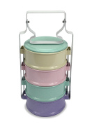 Colourful Thai Tiffin Pinto Food Carrier Lunch Set, 4 x 11cm