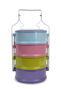 Colourful Thai Tiffin Pinto Food Carrier Lunch Set, 4 x 14cm