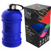 The Original Gym Keg - Fitness Bottle - Premium Strong Durable 2.2 Litre Water Bottle With Handle - Eco Friendly Best BPA Free Large Half Gallon Sports Water Bottles - Gym Bottle - Bodybuilding Bottle