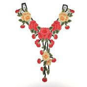 TUANTUAN 1 Pcs Embroidered Flower Sew On Neckline Patches Floral Collar Applique for Skirts Dress Bag Decoration
