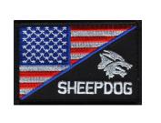 Sheepdog Blue Line Half US Flag Subdued Morale Hook Patch