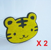 Felt Applique Iron on Applique Little Yellow Black Tiger Animal kawaii applique (Set of 2) B001