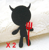 Felt Applique 40x40mm Iron on Applique Black Little Devil Halloween applique (Set of 2) C015