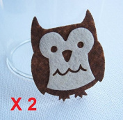 Felt Applique 30x50mm Iron on Applique Happy Brown white Owl Bird Animal kawaii applique (Set of 2) B019