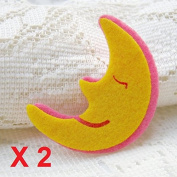 Felt Applique 30x40mm Iron on Applique Moon Star Yellow Sleeping Moon kawaii applique (Set of 2) C009