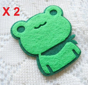 Felt Applique 30x35mm Iron on Applique Cute Green frog Animal kawaii applique (Set of 2) B013