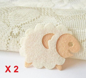Felt Applique Iron on Applique Cute White Cream Sheep Animal kawaii applique (Set of 2) B002