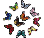 Hosaire 10 Pcs Iron Sew On Embroidered Patches Motif Applique Colourful Butterflies Clothed Decoration Patches Dress Backpack Jacket Jeans Hats Bag DIY Sew