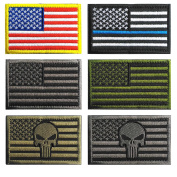Bundle 6 pieces USA American Thin Blue Line Police Flag Tactical Hook and loop Fully Embroidered Morale Tags Patch