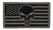 Tactical US Flag Punisher Skull Patch (With Hook and loop) ACU Colours 4.6cm x 8.3cm