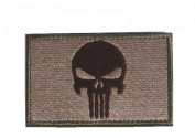 Punisher Tactical Patch Military Army Embroidered Iron on Skull Patch Hook and loop Morale Patches Cloth Fabric Badges Patche for Cap Bag Jackets with Backing Decorative Embroidered Appliques