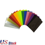 "USA Stock - 11.8"" x 12"" ( 30 x 30.5 cm ) 15pcs 15 Colours TPU Digital Heat Transfer Vinyl Sheets Cutting Film"