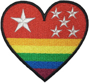 RED HEART RAINBOW STAR 7.5cm. x 7cm. Logo Jacket Vest shirt hat blanket backpack T shirt Patches Embroidered Appliques Symbol Badge Cloth Sign Costume Gift