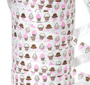 """20YDS of 1cm Pink White Brown """"CUPCAKES"""" Bakery Poly Curling Ribbon"""