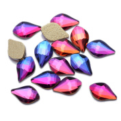 Nizi Jewellery Flatback Blue Rainbow Colour Non Hotfix Strass Nail Art Rhinestones Glass Stones 3D Nail Jewellery Decorations Perfect for Crafts Arts Nail Art DIY 6x8mm Small Leaf 5pcs