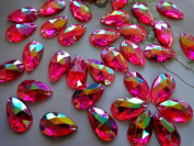 150pcs 11x18mm drop shape Acrylic crystal Rose red AB Colour Rhinestones Stones Accessores Sew on Loose Beads Strass