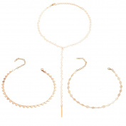 Tpocean 3 PCS Gold Chain Thin Sequins Beaded Long Tassel Pendant Choker Necklaces Women Girls Teen