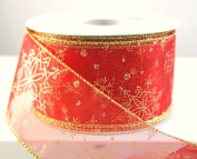 Wire Edged Sheer Red and Gold Snowflake Christmas Ribbon 6.4cm 25 Yards