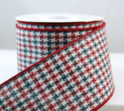 Wired Cheque Point Multicolor Christmas Ribbon 6.4cm #40 10 Yards