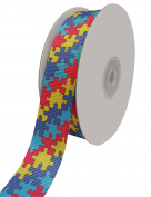 Duoqu Puzzle Printed Grosgrain Ribbon 2.2cm Width x 25 Yards Length