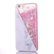 Quicksand Liquid Case for iPhone 6/6s Plus with [Tempered Glass Screen Protector], Glitter Bling Clear Protective Unique Star Flowing Liquid Cover TPU Case for iPhone 6/6s Plus 5.5-Geometric Pink