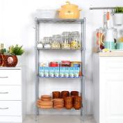 Lantusi 4 Tier Kitchen/ Garage Wire Storage Racks/Shelves with Adjustable Height Organiser & Side Hooks Silver