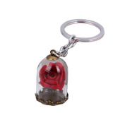 Ecurson Antique Bronze Forever Rose Flower Glass Bottle Key Chain Gift For Women Ladies