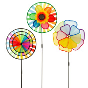 Pinwheel 3 Pack Made of Durable 100% Weatherproof Nylon and Fibreglass | UV Resistant Won't Stain | Rainbow Coloured spinner for Gardens dance in the slightest of breezes.