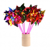 Doober 10Pcs Plastic Windmill Pinwheel Wind Spinner Kids Toy Garden Lawn Party Decor