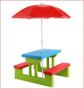 Costway Made with Durable Plastic, Portable, Lightweight, 4 Seat Kids Picnic Table with UV Protection Umbrella Garden Yard Folding Children Bench- No tools are required to set it up or take it down