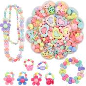 LA HAUTE Girls Mixed Difform Beads Jewellery-Making DIY Colourful Beads Bracelet Necklace Makeup Kit