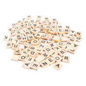 Boladge 100pcs Traditional Scrabble Tile Game Wood Craft Alphabet Board Scrabble Letters Number DIY Toy For Children