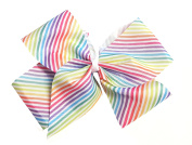 Shimmers - Extra Large Rainbow Stripe Print Hair Grosgrain Ribbon Bow on Clip 23cm