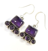 Beautiful Things for Women Amethyst Gemstone Stamped 925 Sterling Silver Drop Earrings