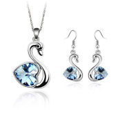 'Bungsa® Swan Lake Silver Jewellery Set Drop Earrings & Necklace with Swan Pendant Necklace – Blue Crystal & Clear Crystal – Earrings For Women/Girls Jewellery Set Crystals Swan