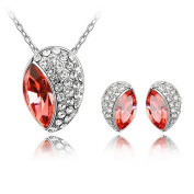 'Bungsa® Jewellery Set with Orange Glow Silver Colour Coordinated Oval Shaped Stud Earrings & Necklace Pendant Set – Salmon Crystal & Clear Crystal – for Ladies, Girls & Women