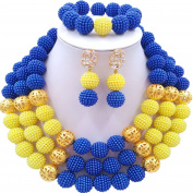 laanc 3 Lines Womens 46cm Gold Beads Ms. Necklace Bracelet Earrings Wedding Party Jewellery Sets
