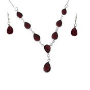 925 Sterling Silver Real Garnet Tear Drop Necklace and Fishhook Earrings GIFT SET - January Birthstone
