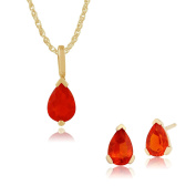 Gemondo 9ct Yellow Gold Fire Opal Pear Stud Earring & 45cm Necklace Set