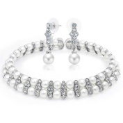 Bling Jewellery Crystal White Simulated Pearl Bridal Choker and Drop Earrings Set Rhodium Plated