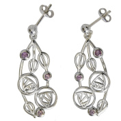 "Cairn 151 Silver Rennie . Drop Earrings - ""Highback"" Set With Amethysts. Tarnish Resistant. British Made. Rennie . Jewellery."