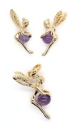 Kala-isbijoux Women's Fairy Pendant 2 cm and Earrings 1 cm Gold-Plated 750/1000 and Amethyst