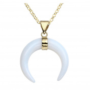 QGEM Natural Gemstone Crescent Moon Necklaces, Ox Horn Double Horn Pendant Jewellery