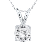 AGS Certified 1 Carat Diamond Solitaire Pendant in 14K White Gold