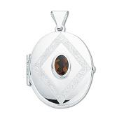 Sterling Silver Oval Shaped Garnet Set Locket & 46cm Chain - British Made - Hallmarked