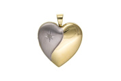Sterling Silver 4 Picture Family Heart Locket With Diamond & 46cm Chain - British Made - Hallmarked
