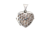 Sterling Silver Pink Mother of Pearl Pierced Heart Locket